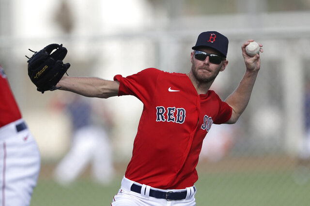 Boston Red Sox starting pitcher Chris Sale throws during spring training baseball camp Wednesday, Feb. 19, 2020, in Sarasota, Fla. (AP Photo/John Bazemore)