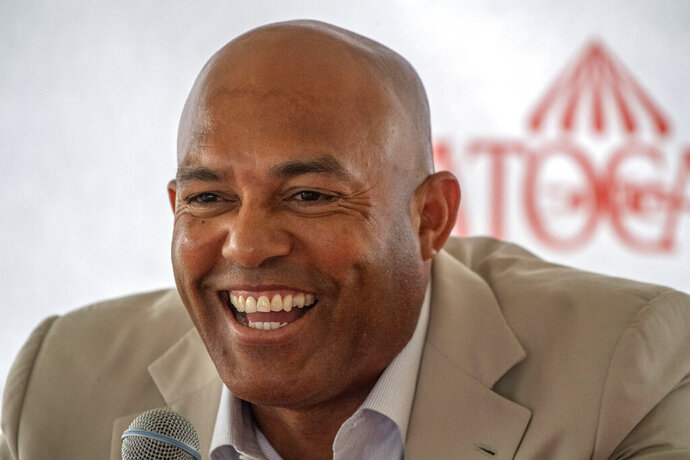 Mariano Rivera speaks to the media during a visit to Saratoga Race Course on Friday, July 12, 2019, in Saratoga Springs, N.Y. The day's third race was named