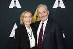 Peter Samuelson, right, and Eva Marie Saint pose at the Academy Nicholl Fellowships in Screenwriting Awards and Live Read at the Academy of Motion Picture Arts and Sciences Samuel Goldwyn Theater on Thursday, Nov. 7, 2019, in Beverly Hills, Calif. (Photo by Danny Moloshok/Invision/AP)