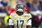 Georgia Tech linebacker Demetrius Knight II celebrates a fumble by Georgia during the first half of an NCAA college football game Saturday, Nov. 30, 2019 in Atlanta. (AP Photo/John Amis)