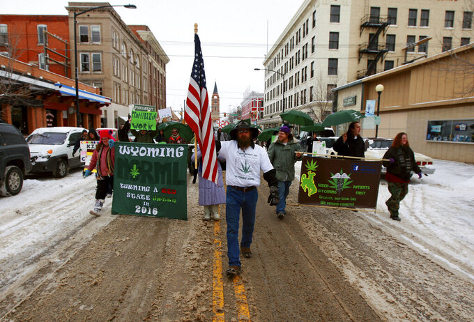 FILE - In this Feb. 10, 2014, file photo, a group of people march up Capitol Avenue during a demonstration urging the state of Wyoming to legalize marijuana in Cheyenne, Wyo. The march was organized by the group Wyoming NORML. Supporters of two new marijuana ballot petitions in Wyoming say they're better organized and more optimistic about getting pot questions before voters in 2022, despite daunting odds and failing to gather enough signatures four years ago. (Alan Rogers/The Casper Star-Tribune via AP, File)