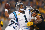 Carolina Panthers quarterback Cam Newton (1) throws a pass during the first half of the team's NFL football game against the Pittsburgh Steelers in Pittsburgh, Thursday, Nov. 8, 2018. (AP Photo/Keith Srakocic)