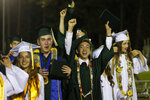 Seniors celebrate at the end of their graduation ceremonies at Paradise High School in Paradise, Calif., Thursday June 6, 2019. Most of the students of Paradise High lost their homes when the Camp Fire swept through the area and the school was forced to hold classes in Chico. The seniors gathered one more time at Paradise High for graduation ceremonies. (AP Photo/Rich Pedroncelli)