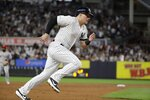 New York Yankees' Luke Voit runs to home plate on a double by New York Yankees' Cameron Maybin during the second inning of a baseball game against the Los Angeles Angels Tuesday, Sept. 17, 2019, in New York. (AP Photo/Frank Franklin II)