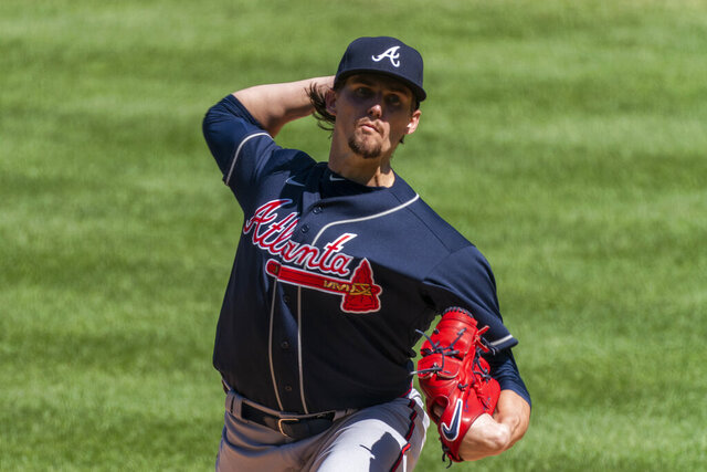 Atlanta Braves starting pitcher Kyle Wright throws during the first inning of a baseball game against the Washington Nationals in Washington, Sunday, Sept. 13, 2020. (AP Photo/Manuel Balce Ceneta)