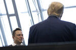 Tesla and SpaceX Chief Executive Officer Elon Musk talks with President Donald Trump speaks after viewing the SpaceX flight to the International Space Station, at Kennedy Space Center, Saturday, May 30, 2020, in Cape Canaveral, Fla. (AP Photo/Alex Brandon)