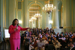 In this photo taken Friday, Nov. 1, 2019, San Francisco Mayor London Breed gestures while speaking at the annual Women In Construction Expo in San Francisco. San Francisco's mayor faces easy re-election in Tuesday's election but a hefty list of problems to solve, including a homelessness crisis, drug epidemic and a housing shortfall. The former president of the Board of Supervisors narrowly won a special June 2018 election to fill the seat left vacant by the sudden death of Mayor Ed Lee. (AP Photo/Eric Risberg)