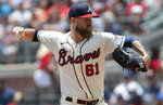 Atlanta Braves relief pitcher Shane Greene (61) throws against the San Diego Padres during the fourth inning in the first game of a baseball doubleheader Wednesday, July 21, 2021, in Atlanta. (AP Photo/Hakim Wright Sr.)