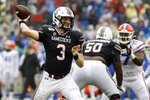 South Carolina's Ryan Hilinski (3) throws a pass against Florida in the second half of an NCAA college football game Saturday, Oct. 19, 2019, in Columbia, SC. (AP Photo/Mic Smith)
