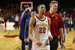 Iowa State guard Tyrese Haliburton (22) walks off the court following a win over Kansas State in a NCAA college basketball game, Saturday, Feb. 8, 2020, in Ames, Iowa. (AP Photo/Matthew Putney)