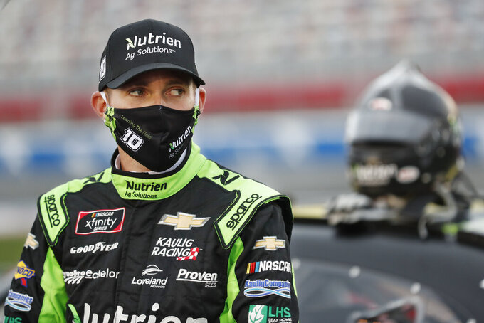 Ross Chastain waits for the start of a NASCAR Xfinity Series auto race at Charlotte Motor Speedway Monday, May 25, 2020, in Concord, N.C. (AP Photo/Gerry Broome)