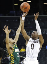 St. Bonaventure's Kyle Lofton (0) shoots over George Mason's Jamal Hartwell II (10) during the first half of an NCAA college basketball game in the Atlantic 10 conference tournament Friday, March 15, 2019, in New York. (AP Photo/Frank Franklin II)