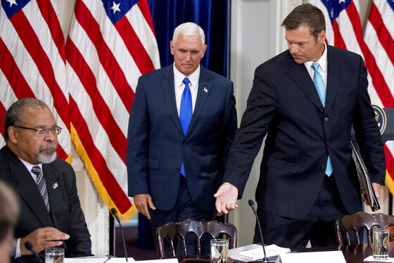 Mike Pence, Kris Kobach, Donald Trump