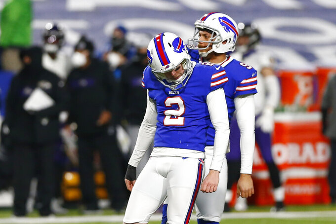 Buffalo Bills kicker Tyler Bass (2) reacts after missing a field goal during the first half of an NFL divisional round football game against the Baltimore Ravens Saturday, Jan. 16, 2021, in Orchard Park, N.Y. (AP Photo/John Munson)