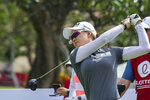 Minjee Lee watches her tee shot on the 10th hole during the second round of the LPGA's Lotte Championship golf tournament Thursday, April 18, 2019, in Kapolei, Hawaii. (Craig T. Kojima/Honolulu Star-Advertiser via AP)