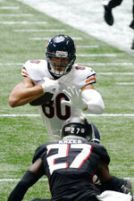 Chicago Bears tight end Jimmy Graham (80) runs after a catch agaimnst Atlanta Falcons strong safety Damontae Kazee (27) during the second half of an NFL football game, Sunday, Sept. 27, 2020, in Atlanta. (AP Photo/Brynn Anderson)