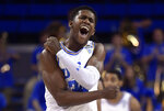 UCLA guard David Singleton celebrates as time runs out in the team's NCAA college basketball game against Stanford on Thursday, Jan. 3, 2019, in Los Angeles. UCLA won 92-70. (AP Photo/Mark J. Terrill)