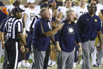 Notre Dame head coach Brian Kelly gestures to his team in overtime of an NCAA college football game against Florida State Sunday, Sept. 5, 2021, in Tallahassee, Fla. (AP Photo/Phil Sears)