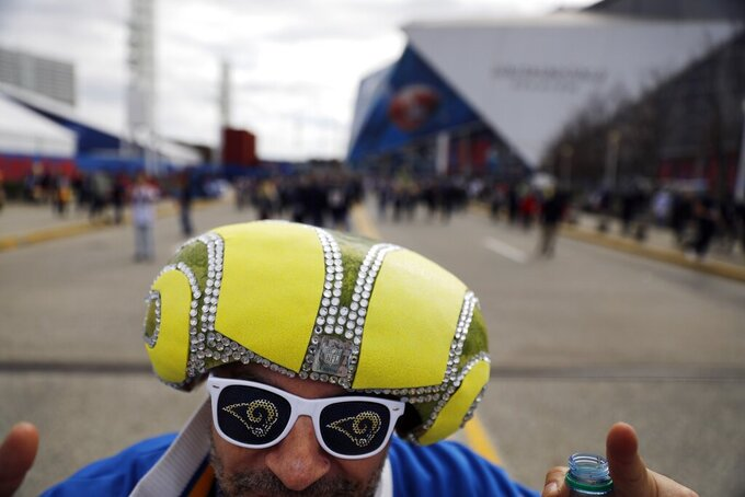 Steven Pataki arrives outside Mercedes-Benz Stadium before the NFL Super Bowl 53 football game between the Los Angeles Rams and the New England Patriots, Sunday, Feb. 3, 2019, in Atlanta. (AP Photo/David Goldman)