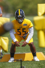 Pittsburgh Steelers linebacker Devin Bush (55) goes through drills during an NFL football training camp practice in Latrobe, Pa., Friday, July 26, 2019. (AP Photo/Keith Srakocic)