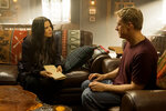 This image released by SYFY shows Meredith Garretson, left, and Alan Tudyk in the new series