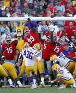 LSU's Cole Tracy (36) kicks a field goal against Georgia during the third quarter of an NCAA college football game Saturday, Oct. 13, 2018, in Baton Rouge, La. (Bob Andres/Atlanta Journal Constitution via AP)