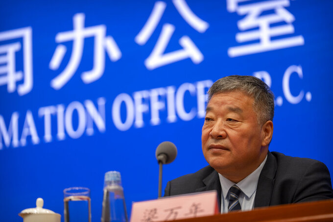 Liang Wannian, the Chinese co-leader of the joint China-WHO investigation into the origins of the COVID-19 pandemic, speaks at a press conference at the State Council Information Office in Beijing, Thursday, July 22, 2021. China cannot accept the World Health Organization's plan for the second phase of a study into the origins of COVID-19, a senior Chinese health official said Thursday. (AP Photo/Mark Schiefelbein)