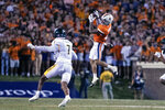 Virginia wide receiver Billy Kemp IV, right, catches a pass against William & Mary during an NCAA college football game Saturday, Sept. 4, 2021, in Charlottesville, Va. (Erin Edgerton/The Daily Progress via AP)