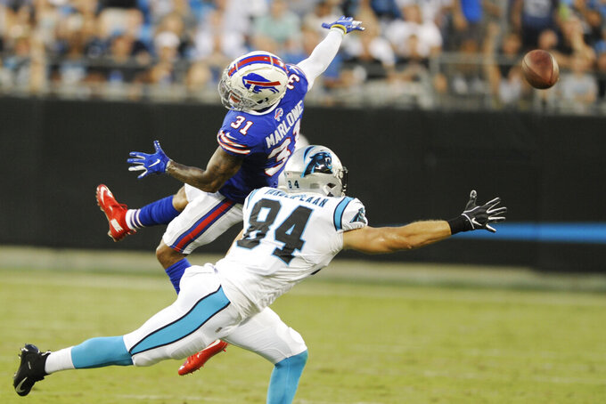 Buffalo Bills strong safety Dean Marlowe (31) tips the ball intended for Carolina Panthers tight end Jason Vander Laan (84) during the first half an NFL preseason football game, Friday, Aug. 16, 2019, in Charlotte, N.C. (AP Photo/Mike McCarn)
