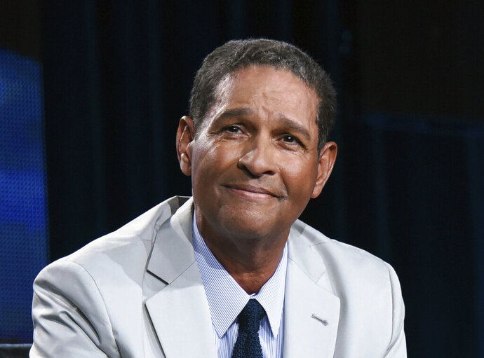 FILE - In this Jan. 8, 2015, file photo sportscaster Bryant Gumbel speaks on stage at HBO 2015 Winter TCA in Pasadena, Calif. Gumbel turns 72 on Tuesday, Sept. 29, 2020.  (Photo by Richard Shotwell/Invision/AP, File)