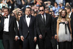 Actors Brad Pitt, from left, Leonardo DiCaprio, director Quentin Tarantino and actress Margot Robbie pose for photographers upon arrival at the premiere of the film 'Once Upon a Time in Hollywood' at the 72nd international film festival, Cannes, southern France, Tuesday, May 21, 2019. (AP Photo/Petros Giannakouris)