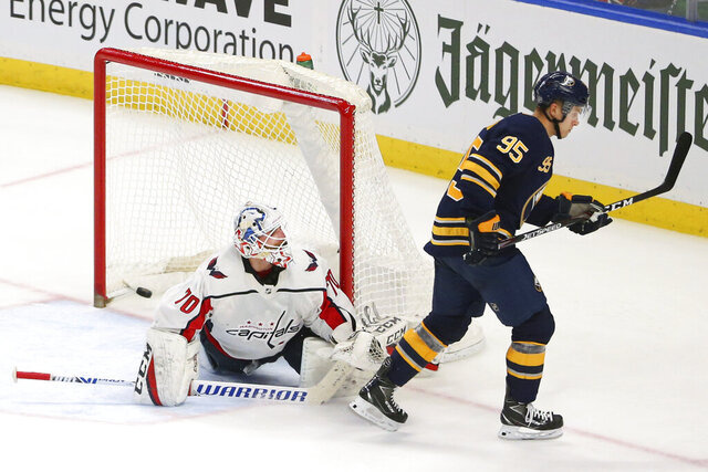 Buffalo Sabres forward Dominik Kahun (95) scores against Washington Capitals goalie Branden Holtby (70) during the shootout period of an NHL hockey game Monday, March 9, 2020, in Buffalo, N.Y. (AP Photo/Jeffrey T. Barnes)