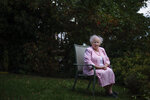 Ginny Mucciaccio, 90, a direct descendant of a Pilgrim who came over on the Mayflower, sits for a portrait in Plymouth, Mass., Thursday, Oct. 1, 2020. Mucciacco, a descendant of Mayflower passenger Degory Priest, said the Pilgrims' work ethic was admirable.