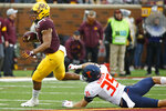 Minnesota running back Rodney Smith (1) gets past Illinois linebacker Jake Hansen (35) in the second quarter of an NCAA college football game Saturday, Oct. 5, 2019, in Minneapolis. (AP Photo/Bruce Kluckhohn)