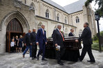 Pallbearers walk the casket bearing T. Boone Pickens from the Highland Park United Methodist Church following his funeral service in Dallas, Thursday, Sept. 19, 2019. (Tom Fox/The Dallas Morning News via AP, Pool)