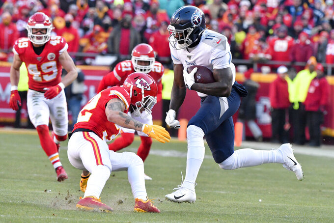 Tennessee Titans' A.J. Brown (11) runs during the first half of the NFL AFC Championship football game against the Kansas City Chiefs Sunday, Jan. 19, 2020, in Kansas City, MO. (AP Photo/Ed Zurga)
