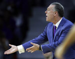 TCU head coach Jamie Dixon pleads for a call during the first half of an NCAA college basketball game against Kansas State in Manhattan, Kan., Saturday, Jan. 19, 2019. (AP Photo/Orlin Wagner)