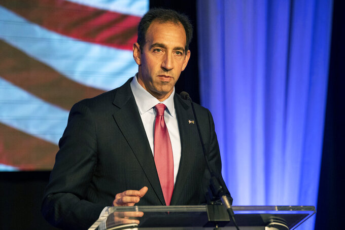 FILE - In this Nov. 6, 2018 file photo Republican Jeff Bartos, speaks to supporters in York, Pa. Bartos is formally launching his campaign for Pennsylvania's wide-open 2022 U.S. Senate race, the highest-profile Republican candidate so far to run for the seat. (Ty Lohr/York Daily Record via AP, File)