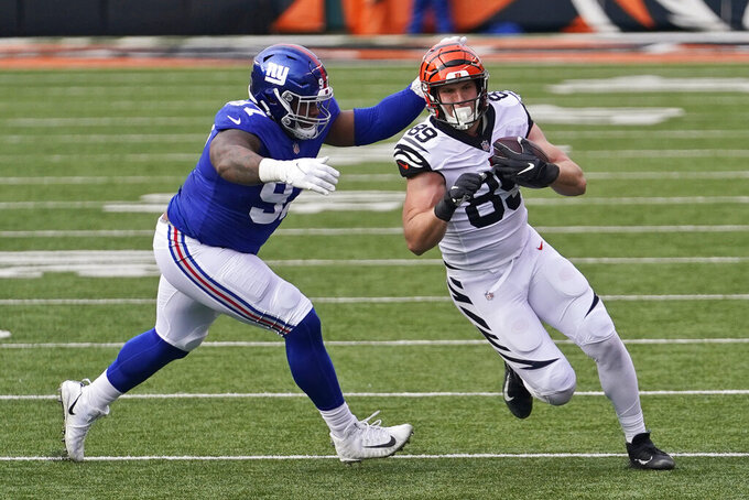 Cincinnati Bengals tight end Drew Sample (89) rushes against New York Giants defensive tackle Dexter Lawrence (97) during the first half of an NFL football game, Sunday, Nov. 29, 2020, in Cincinnati. (AP Photo/Bryan Woolston)