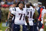 FILE - In this Nov. 11, 2018, file photo, New England Patriots defensive tackle Danny Shelton watches from the sideline in the second half of an NFL football game against the Tennessee Titans in Nashville, Tenn. he Detroit Lions have agreed to a two-year, $8 million deal with defensive tackle Danny Shelton. Agent Drew Rosenhaus confirmed the deal Wednesday, March 18, 2020. (AP Photo/Mark Zaleski, Fle)