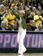 Baylor head coach Kim Mulkey celebrates in the second half of a second-round game against California in the NCAA women's college basketball tournament in Waco, Texas, Monday, March 25, 2019. (AP Photo/Tony Gutierrez)