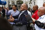 Diosdado Cabello, president of the National Constituent Assembly, answers journalists questions as he arrives for a special session marking Teacher's Day at the National Assembly in Caracas, Venezuela, Wednesday, Jan. 15, 2020. (AP Photo/Ernesto Vargas)