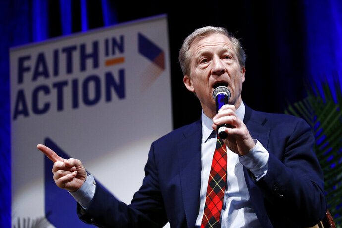 Democratic presidential candidate, businessman Tom Steyer speaks during a town hall at Faith in Action's 2020 National Faith Forum, Thursday, Feb. 13, 2020, in Las Vegas. (AP Photo/Patrick Semansky)