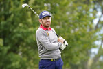 Louis Oosthuizen, of South Africa, watches his shot off the sixth tee during the second round of the US Open Golf Championship, Friday, Sept. 18, 2020, in Mamaroneck, N.Y. (AP Photo/John Minchillo)