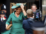 Sarah Ferguson, mother of Britain's Princess Eugenie of York, arrives to attend the wedding of Princess Eugenie of York and Jack Brooksbank at St George's Chapel, Windsor Castle, near London, England, Friday Oct. 12, 2018. (Adrian Dennis/Pool via AP)