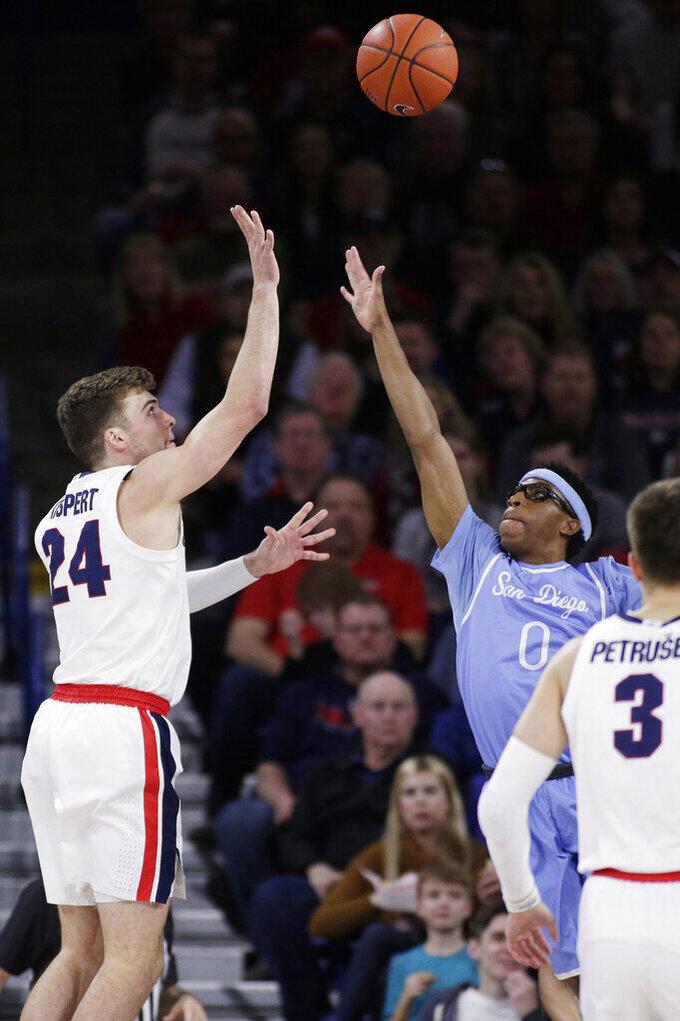 Gonzaga forward Corey Kispert (24) shoots over San Diego guard Marion Humphrey (0) during the first half of an NCAA college basketball game in Spokane, Wash., Thursday, Feb. 27, 2020. (AP Photo/Young Kwak)