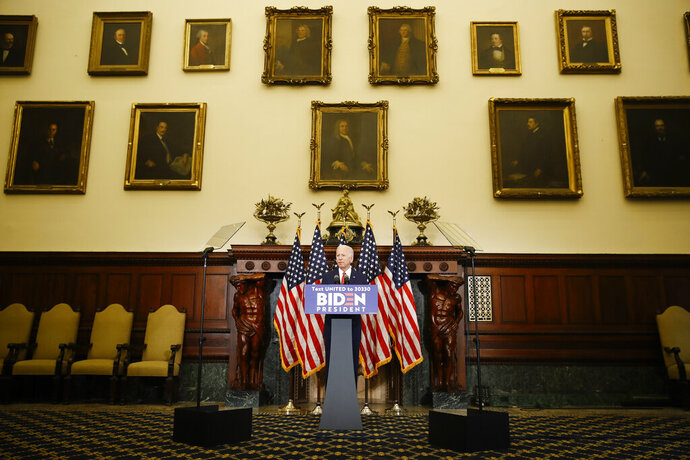 Democratic presidential candidate, former Vice President Joe Biden speaks in Philadelphia, Tuesday, June 2, 2020. (AP Photo/Matt Rourke)