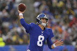 New York Giants quarterback Daniel Jones throws during the first half of an NFL football game against the Green Bay Packers, Sunday, Dec. 1, 2019, in East Rutherford, N.J. (AP Photo/Adam Hunger)
