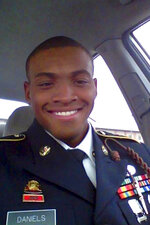 In this undated photo provided courtesy of the Daniels family, Damian Daniels poses for a selfie. Daniels, an Army veteran who moved from his home state of Alabama to Texas after serving in Afghanistan, was shot to death by a sheriff's deputy in San Antonio last month. A funeral service was held for Daniels on Friday, Sept. 11, 2020, to coincide with the anniversary of the Sept. 11 terror attacks. (Courtesy of the Daniels family via AP)