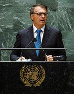 Brazil's President Jair Bolsonaro addresses the 76th Session of the U.N. General Assembly at United Nations headquarters in New York.  (Eduardo Munoz/Pool Photo via AP)